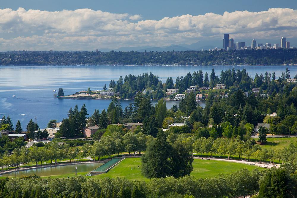 United States. Washington, Bellevue, Downtown Park, Meydenbauer Bay, Lake Washington and Seattle