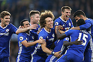 GOAL/CELE  :  Ngolo Kante of Chelsea celebrates after scoring his sides 4th goal with his team mates. Premier league match, Chelsea v Manchester Utd at Stamford Bridge in London on Sunday 23rd October 2016.<br /> pic by John Patrick Fletcher, Andrew Orchard sports photography.
