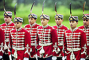 Soldiers in ceremonial uniform take part in military parade in Sofia, Bulgaria, Eastern Europe