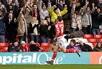 Photo: Leigh Quinnell.<br /> Nottingham Forest v Swindon Town. Coca Cola League 1. 25/02/2006. Ian Breckin celebrates his goal in front of the Nottingham Forest fans.