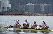 "Rio de Janeiro. BRAZIL.  GBR M4-, Bow Alex GREGORY, Mohamed SBIHI, George NASH and Constantine LOULOUDIS. 2016 Olympic Rowing Regatta. Lagoa Stadium,<br /> Copacabana,  ""Olympic Summer Games""<br /> Rodrigo de Freitas Lagoon, Lagoa. Local Time 09:49:41  Thursday  11/08/2016 <br /> [Mandatory Credit; Peter SPURRIER/Intersport Images]"