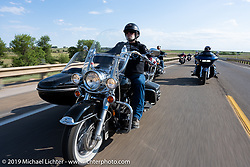 Robert Schaefer on the Harley Owners Group (HOG) ride out from the Full Throttle Saloon during the Sturgis Motorcycle Rally. SD, USA. Thursday, August 12, 2021. Photography ©2021 Michael Lichter.