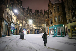 Edinburgh, Scotland, UK. 10 Feb 2021. Big freeze continues in the UK with heavy overnight and morning snow in the city. Pic; .View of Cockburn Street in the snow. Iain Masterton/Alamy Live news