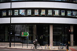 Posters in support of the NHS in the windows of a college opposite St Thomas' Hospital in London as the UK continues in lockdown to help curb the spread of the coronavirus.