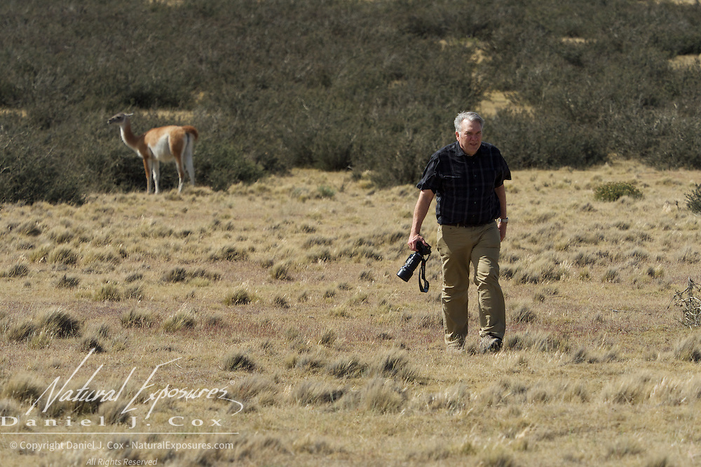 Freddy makes his way back from photographing a guanaco, Patagonia