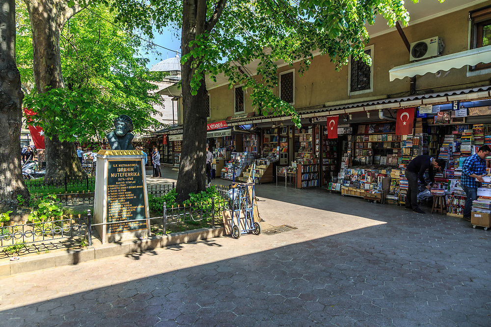 The Sahaflar Çarsısı (Beyazit Book Bazaar) in Istanbul, Turkey. Some historians say that the first book in Turkey was printed in Sahaflar Çarsısı in 1729. The statue in Book Bazaar courtyard is that of Ottoman diplomat Muteferrika who published the first book—a two-volume Arabic-Turkish dictionary.