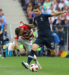 MOSCOW, July 15, 2018  Lucas Hernandez (R) of France competes during the 2018 FIFA World Cup final match between France and Croatia in Moscow, Russia, July 15, 2018. (Credit Image: © Yang Lei/Xinhua via ZUMA Wire)