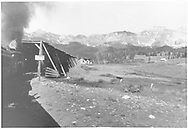 """RGS #25 heads north into the long snowshed on Lizard Head Pass previous to the fire of 1938 (or so) with the Barringer inspection special.<br /> RGS  Lizard Head, CO  Taken by Barriger, John W. III - 9/1935<br /> In book """"Rio Grande Southern II, The: An Ultimate Pictorial Study"""" page 274<br /> Also in """"On the Three Foot Gauge"""", p. 46."""