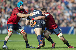 March 30, 2019 - Edinburgh, Scotland, United Kingdom - Ross Ford of Edinburgh tackled by Tadgh Beirne and CJ Stander of Munster during the Heineken Champions Cup Quarter Final match between Edinburgh Rugby and Munster Rugby at Murrayfield Stadium in Edinburgh, Scotland, United Kingdom on March 30, 2019  (Credit Image: © Andrew Surma/NurPhoto via ZUMA Press)