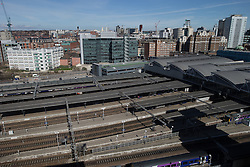 © Licensed to London News Pictures . 06/04/2015 . Leeds , UK . GV of Leeds Railway Station in central Leeds . Photo credit : Joel Goodman/LNP