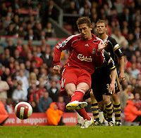 Photo: Jed Wee/Sportsbeat Images.<br /> Liverpool v Charlton Athletic. The Barclays Premiership. 13/05/2007.<br /> <br /> Liverpool's Harry Kewell scores from the penalty spot to clinch third place.