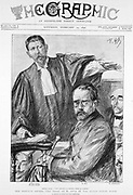 Emile Zola (1840-1902) French novelist, on trial for defamation of French military authorities for writing a letter to the press referring to the Esterhazy court martial in his effort to obtain justice for Alfred Dreyfus c1859-1935). Sentenced to a year in prison but escaped to England. From 'The Graphic', London, 12 February 1898.