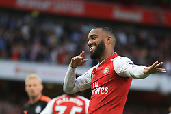 11 August 2017 -  Premier League - Arsenal v Leicester City - Alexandre Lacazette of Arsenal celebrates scoring the opening goal - Photo: Marc Atkins / Offside.