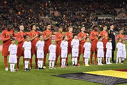 November 10, 2017 - Brugge, BELGIUM - Belgium's players pictured during the national anthem at the start of a friendly soccer game between Belgian national team Red Devils and Mexico, Friday 10 November 2017, in Brugge...BELGA PHOTO DIRK WAEM (Credit Image: © Dirk Waem/Belga via ZUMA Press)