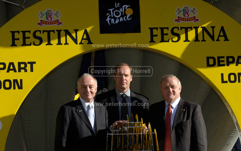 Ken Livingstone, Mayor of London, Christian Prudhomme, Director of the Tour de France and ASO Deputy Director, Jean Marie Leblanc at the official launch of London hosting the Prologue and Stage One of the 2007 Tour de France held at the Queen Elizabeth 2 Conference Centre on Thursday 9th February 2006.