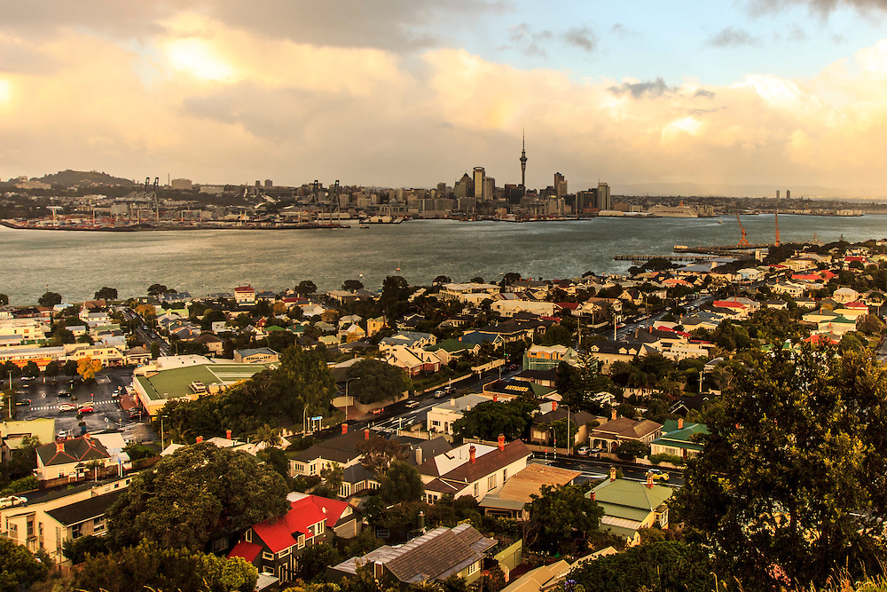 auckland city and devonport from mt victoria