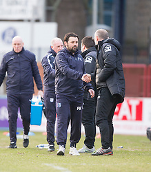 Dundee's manager Paul Hartley and Inverness Caledonian Thistle's manager John Hughes at the end. <br /> Dundee 1 v 1 Inverness Caledonian Thistle, SPFL Ladbrokes Premiership game played at Dens Park, 27/2/2016.