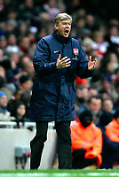 Photo: Tom Dulat/Sportsbeat Images.<br /> <br /> Arsenal v Wigan Athletic. The FA Barclays Premiership. 24/11/2007.<br /> <br /> Manager of Arsenal Arsene Wenger shows off his frustration.