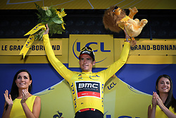 July 17, 2018 - Le Grand Bornand, FRANCE - Belgian Greg Van Avermaet of BMC Racing celebrates on the podium in the yellow jersey of leader in the overall ranking after the tenth stage in the 105th edition of the Tour de France cycling race, 112.5 km from Annecy to Le Grand Bornand, France, Tuesday 17 July 2018. This year's Tour de France takes place from July 7th to July 29th. BELGA PHOTO DAVID STOCKMAN (Credit Image: © David Stockman/Belga via ZUMA Press)