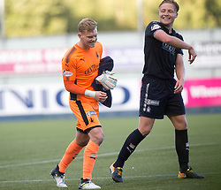 Falkirk's keeper Robbie Thomson and Falkirk's Peter Grant, at the end of  the game. Falkirk 2 v 0 Dunfermline, Scottish Challenge Cup played 7/9/2017 at The Falkirk Stadium.