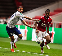 Football - 2020 / 2021 EFL Carabao Cup - Round Three - Bristol City vs  Aston Villa<br />  <br /> Antoine Semenyo of Bristol City vies with Ahmed Elmohamady of Aston Villa, at Ashton Gate.<br />  <br /> COLORSPORT/SIMON KING