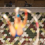 TOKYO, JAPAN  July/August: Photo Essay by Tim Clayton<br /> <br /> Women's Pole Vault. Olympic Stadium. 9/16<br /> <br /> If the athletes are the heart of any sporting event, the soul are the spectators.Sadly, due to covid 19 restrictions spectators were banned from viewing live what has now become 'the greatest sporting show on earth' The Olympic Games. The cavernous stadiums, many of exceptional quality were left to the whispers of Olympic triumphs past, spirits and history breezing through the empty stands in an attempt to muster up a trace of emotion. The athletes performed, it was no dress rehearsal, but a calling from within to follow that Olympic spirit of faster, higher, stronger and challenge themselves on the ultimate world stage, without the support of their soul mate, the fan.The Olympic Games Tokyo 2020 were like no other… Tokyo, Japan. July August 2021 (Photo by Tim Clayton/Corbis via Getty Images)