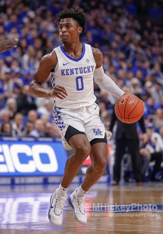 LEXINGTON, KY - FEBRUARY 04: Ashton Hagans #0 of the Kentucky Wildcats brings the ball up court during the game against the Mississippi State Bulldogs at Rupp Arena on February 4, 2020 in Lexington, Kentucky. (Photo by Michael Hickey/Getty Images) *** Local Caption *** Ashton Hagans
