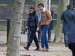 © Licensed to London News Pictures. 31/01/2021. London, UK. Chancellor Rishi Sunak and his wife Akshata Murthy take a stroll in central London. Photo credit: Peter Macdiarmid/LNP
