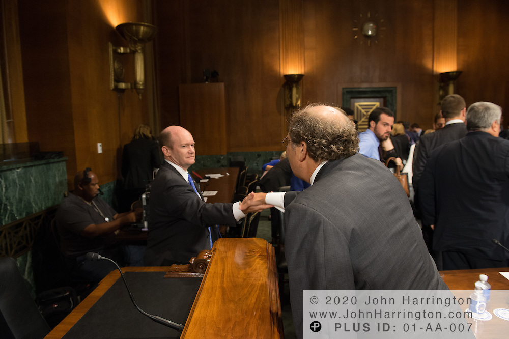 """Mr. Paul Rosenzweig greets Sen. Koons Wednesday September 14, 2016, before the Subcommittee on Oversight, Agency Action, Federal Rights and Federal Courts, testimony was also heard from The Honorable Lawrence E. Strickling, Assistant Secretary for Communications and Information and Administrator<br /> National Telecommunications and Information Administration (NTIA), United States Department of Commerce;  Mr. Göran Marby, CEO and President, Internet Corporation for Assigned Names and Numbers (ICANN); Mr. Berin Szoka, President, TechFreedom; Mr. Jonathan Zuck, President, ACT The App Association;  Ms. Dawn Grove, Corporate Counsel<br /> Karsten Manufacturing; Ms. J. Beckwith (""""Becky"""") Burr, Deputy General Counsel and Chief Privacy Officer, Neustar;  Mr. John Horton, President and CEO, LegitScript;  Mr. Steve DelBianco, Executive Director, NetChoice; Mr. Paul Rosenzweig, Former Deputy Assistant Secretary for Policy, U.S. Department of Homeland Security."""