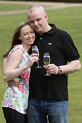 © Licenced to London News Pictures.  18/03/2014.  London UK.  Neil Trotter of Coulsdon, Surrey wins £108,000,000 from a lucky dip euro Millions lottery ticket. Pictured here at Wotton Hotel, Wotton, Dorking Surrey with long term girlfriend Nicky Ottaway<br /> Photo Credit: Presspics/LNP