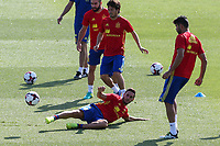 Spanish Koke Resurrecccion David Silva and Diego Costa  during the second training of the concentration of Spanish football team at Ciudad del Futbol de Las Rozas before the qualifying for the Russia world cup in 2017 August 30, 2016. (ALTERPHOTOS/Rodrigo Jimenez)