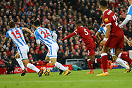 Georginio Wijnaldum of Liverpool (5) shoots and scores his teams 3rd goal. Premier League match, Liverpool v Huddersfield Town at the Anfield stadium in Liverpool, Merseyside on Saturday 28th October 2017.<br /> pic by Chris Stading, Andrew Orchard sports photography.