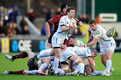 Exeter Chiefs Scrum-Half (#9) Will Chudley passes from the breakdown during the second half of the match - Photo mandatory by-line: Rogan Thomson/JMP - Tel: Mobile: 07966 386802 16/02/2013 - SPORT - RUGBY - Allianz Park - Barnet. Saracens v Exeter Chiefs - Aviva Premiership. This is the first Premiership match at Saracens new home ground, Allianz Park, and the first time Premiership Rugby has been played on an artificial turf pitch.