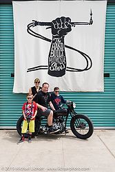 Harley-Davidson motorcycle designer Casey Ketterhagen with his 1931 custom Harley-Davidson VL and family on Sunday at the Handbuilt Motorcycle Show. Austin, TX. April 12, 2015.  Photography ©2015 Michael Lichter.
