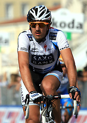 Fabian Cancellara (ITA) of  Team Saxo Bank at finish line of 2nd stage of 92nd Giro d'Italia in Trieste, on May 10, 2009, in Trieste, Italia.  (Photo by Vid Ponikvar / Sportida)