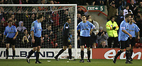 Photo: Paul Thomas.<br /> Nottingham Forest v Salisbury. The FA Cup. 12/12/2006.<br /> <br /> Dejected Salisbury players after Forest's Nathan Tyson scores to put Forest ahead.