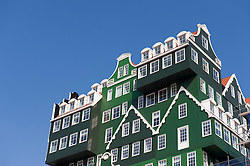 Exterior of new Inntel Hotel in Zandaam with facade based on traditional houses in Holland , The Netherlands, Architect WAM Architecten