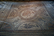 An intact Roman mosaic in the Fisbourne Roman Palace centre, Fishbourne, UK