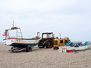 Fishing boats on the beach at Cley next the Sea on the north Norfolk coast, United Kingdom on 8th June 2018