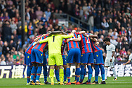 Crystal Palace #1 Julián Speroni, Crystal Palace #11 Wilfried Zaha, Crystal Palace #10 Andros Townsend, Crystal Palace #2 Joel Ward during the Premier League match between Crystal Palace and Chelsea at Selhurst Park, London, England on 14 October 2017. Photo by Sebastian Frej.