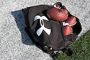 """Under Armour branded ball bag on the football field at Cedar Hill High School in Cedar Hill, Texas on August 24, 2016. """"CREDIT: Cooper Neill for The Wall Street Journal""""<br /> TX HS Football sponsorships"""