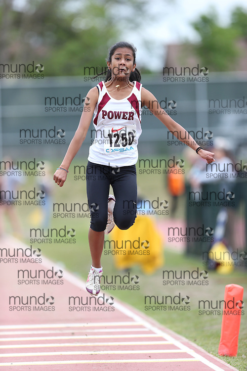 Jushvina Mohan of Michael Power/St.Joseph-Etobic competes in the midget girls triple jump at the 2013 OFSAA Track and Field Championship in Oshawa Ontario, Thursday,  June 6, 2013.<br /> Mundo Sport Images / Sean Burges