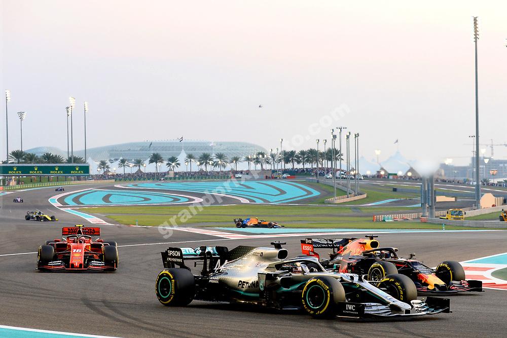 Lewis Hamilton (Mercedes) leading the field during the 2019 Abu Dhabi Grand Prix at Yas Marina. Photo: Grand Prix Photo