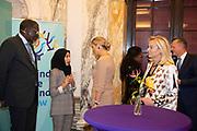 Koningin Maxima en prinses Mabel tijdens de Conferentie voor Mental Health and Psychosocial Support in het Koninklijk Instituut voor de Tropen. <br /> <br /> Queen Maxima and Princess Mabel during the Conference for Mental Health and Psychosocial Support at the Royal Tropical Institute.<br /> <br /> Op de foto / On the photo: