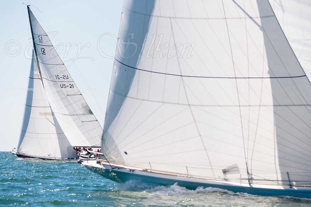 Weatherly and American Eagle sailing in the Nantucket 12 Metre Class Regatta.
