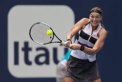 March 25, 2019 - Miami Gardens, FL, USA - Petra Kvitova, of the Czech Republic, returns a shot to Caroline Garcia, of France, during their match at the Miami Open tennis tournament on Monday, March 25, 2019 at Hard Rock Stadium in Miami Gardens, Fla. (Credit Image: © Matias J. Ocner/Miami Herald/TNS via ZUMA Wire)
