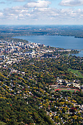 View of the University of Wisconsin-Madison and Madison, Wisconsin on a beautiful autumn day.