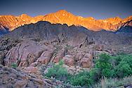 Sunrise light on Mount Whitney and Lone Pine Peak above the Alabama Hills, near Lone Pine, Eastern Sierra, California