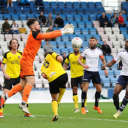 TELFORD COPYRIGHT MIKE SHERIDAN 13/10/2018 - Shane Sutton of AFC Telford and Theo Streete of AFC Telford attempt to pounce o a fumble by Chorley keeper Matt Urwin during the Vanarama National League North fixture between AFC Telford United and Chorley