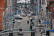Traffic on Main Street in Kansas City, Mo., March 10, 2017. (Colin E. Braley)